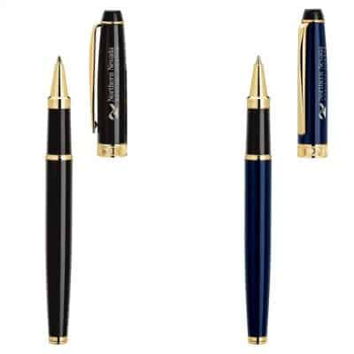 Alberti Bettoni Collection Cap Off Roller Ball Pen w/Gold Clip & Accents