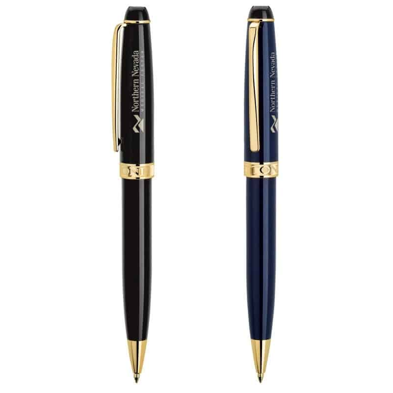 Alberti Bettoni Collection Twist Action Ballpoint Pen w/Gold Clip & Accents